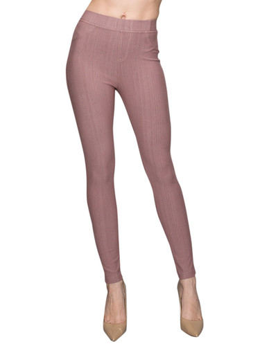Compression Faux Jeggings with Dotted Lines Rose