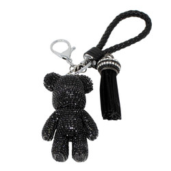 Teddy Bear and Tassel Purse Charm Braided Strap Black