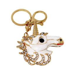 Rhinestone Unicorn Keychain Bag Charm White