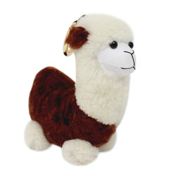 "Cute Plush Llama Keychain Purse Charm 5""H Khaki"