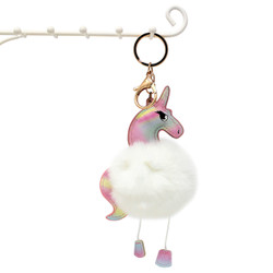 Unicorn with Soft Pom Pom Purse Charm Keychain White