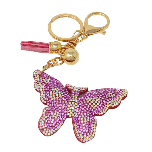 Pink Butterfly Key Chain with Soft Padded Felt Backing