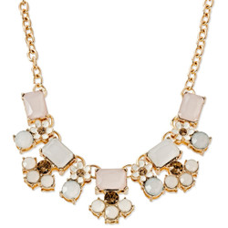 Statement Short Necklace with Stone & Flower Cluster