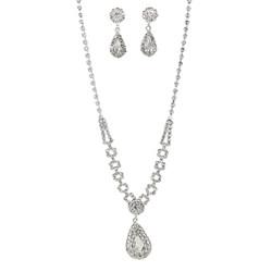Rhinestone Teardrop Necklace Earrings Set Silver