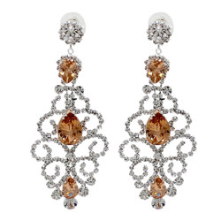Cubic Zirconia Chandelier Earrings 3.25 Inches Citrine