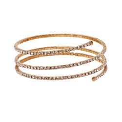 Rhinestone Wrap Around Bracelet Rose Gold 3 Row
