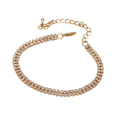 2 Row Cubic Zirconia Tennis Bracelet Gold