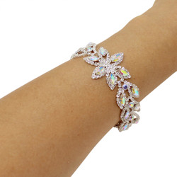 Cubic Zirconia 2 Row Flower Petal Bracelet Rose Gold