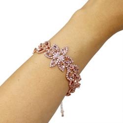 Cubic Zirconia 2 Row Flower Petal Bracelet AB Crystals