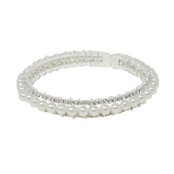 Adjustable Faux Pearl Crystal Cuff Bracelet Silver