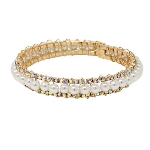 Adjustable Faux Pearl Crystal Cuff Bracelet AB Gold