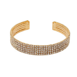 Adjustable 5 Row Rhinestone Cuff Bracelet Gold