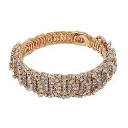 Wrap Around Rhinestone Circles Bangle Bracelet Gold