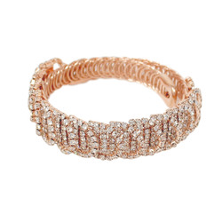 Wrap Around Rhinestone Circles Bangle Bracelet Rose Gold