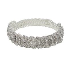 Wrap Around Rhinestone Circles Bangle Bracelet Silver
