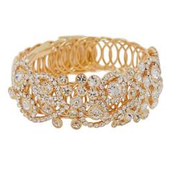 Wrap Around Rhinestone Flowers Wide Bangle Bracelet Gold