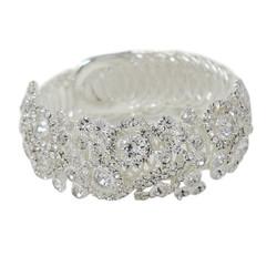 Wrap Around Rhinestone Flowers Wide Bangle Bracelet Silver