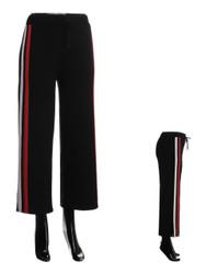 2 Stripe Wide-Leg Palazzo Pants Black