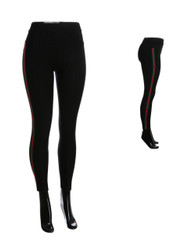 Black Compression Faux Jeggings Red Green Stripes