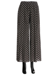 Polka Dot Pleated Palazzo Pants Wide-Leg Grey and White