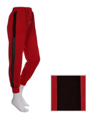 Red Jogger Side Mesh Panel Size 0-6