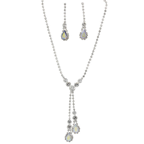 Rhinestone Double Drop Y-shape Necklace Earrings Set AB Silver Tone