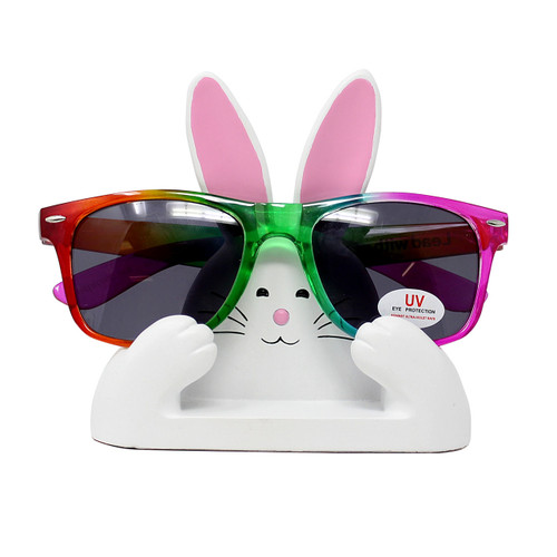 """White and Pink Bunny Eyeglass Stand 4.5""""L"""