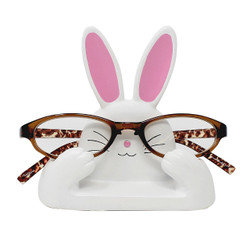 "White and Pink Bunny Eyeglass Stand 4.5""L"