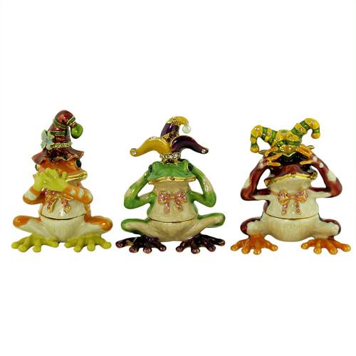 See Hear Speak No Evil Jester Frog Trinket Box Set of 3