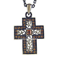 Celtic Style Crystals Cross Pendant