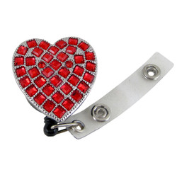 Red Heart Pull Reel ID Badge Holder