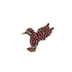 Red Bejewled Hummingbird Pin