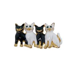 Litter of Kittens Pin Black and White