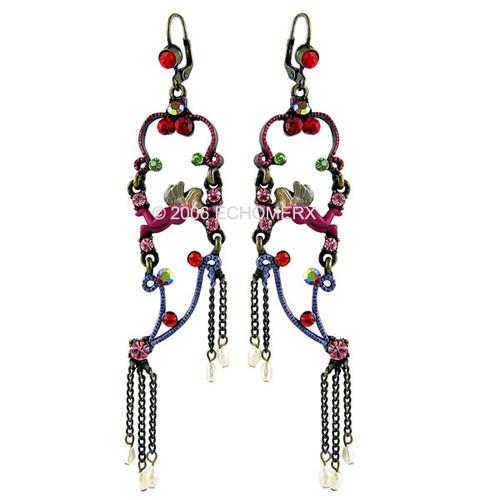 "Victorian Style Pearls Dangle Earrings Angel Red 4""Long"