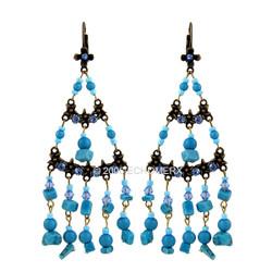 Turquoise Beads Long Earrings