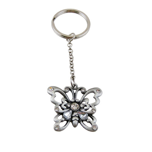 Butterfly Pewter Key Chain Bejeweled