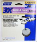 """6"""" Hook & Loop 6 Hole 100 Grit 10 pack Norton 3X - Velcro Sanding Disc"""