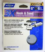 """6"""" Hook & Loop 6 Hole 220 Grit 10 pack Norton 3X - Velcro Sanding Disc"""