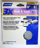 """6"""" Hook & Loop 6 Hole 150 Grit 10 pack Norton 3X - Velcro Sanding Disc"""