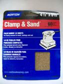 "4-1/2"" x 5-1/2"" 60 Grit 1/4 Sanding Sheets (6) sheets Norton #48302"