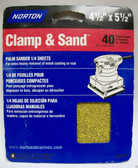 "4-1/2"" x 5-1/2"" 40 Grit 1/4 Sanding Sheets (4) sheets Norton #01707"