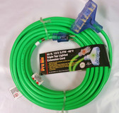 50' Heavy Duty Extension Cord - Outdoor/Indoor with Lighted Tri-Tap Green CGM