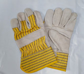 Grain Leather Palm Gloves with Cuff, One Size, Heavy Duty, 1 Pair