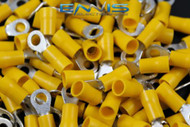 10-12 GAUGE VINYL RING # 10 YELLOW 500 PK CRIMP TERMINAL AWG GA WIRE CAR HOME
