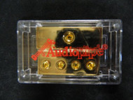 2 PACK 0 TO 4 GAUGE DISTRIBUTION BLOCK AUDIOPIPE GOLD 24K POWER WIRE PB-1044