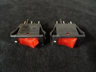 2 PACK ROCKER SWITCH ON OFF MINI TOGGLE RED LED 12V 16 AMP EC-1220RD
