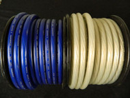 0 GAUGE WIRE 10 FT 5 BLUE 5 SILVER SUPERFLEX 1/0 AWG POWER GROUND STRANDED