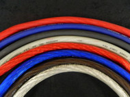 0 GAUGE WIRE 15-50 FT RED BLACK BLUE SILVER FLEX/SHINY POWER GROUND STRANDED AWG