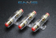 3 PACK AGU FUSE HOLDER 4 6 8 10 GAUGE IN LINE GLASS FUSES AWG WIRE GOLD