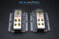 2 PCS 4 TO 8 GAUGE DISTRIBUTION BLOCK AUDIOPIPE GOLD 24K POWER WIRE PB-1448